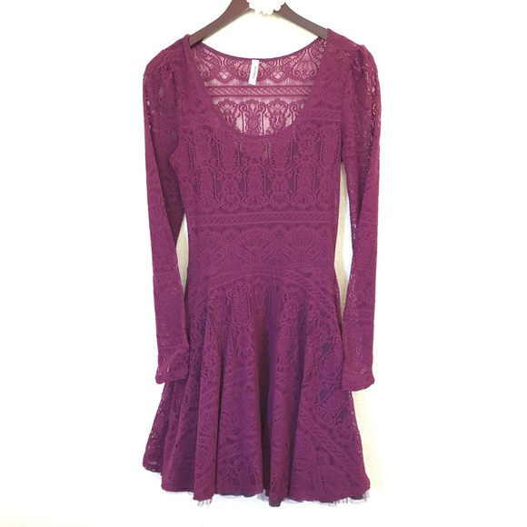 d7e38462e378 Free People Dresses   Skirts - Free People lace skater dress long sleeve  purple